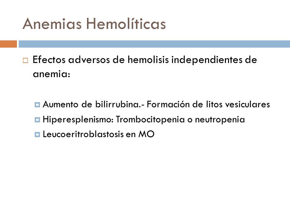 Anemias Hemolíticas Efectos adversos de hemolisis independientes de anemia: Aumento de bilirrubina.- Formación de litos vesiculares Hiperesplenismo: T