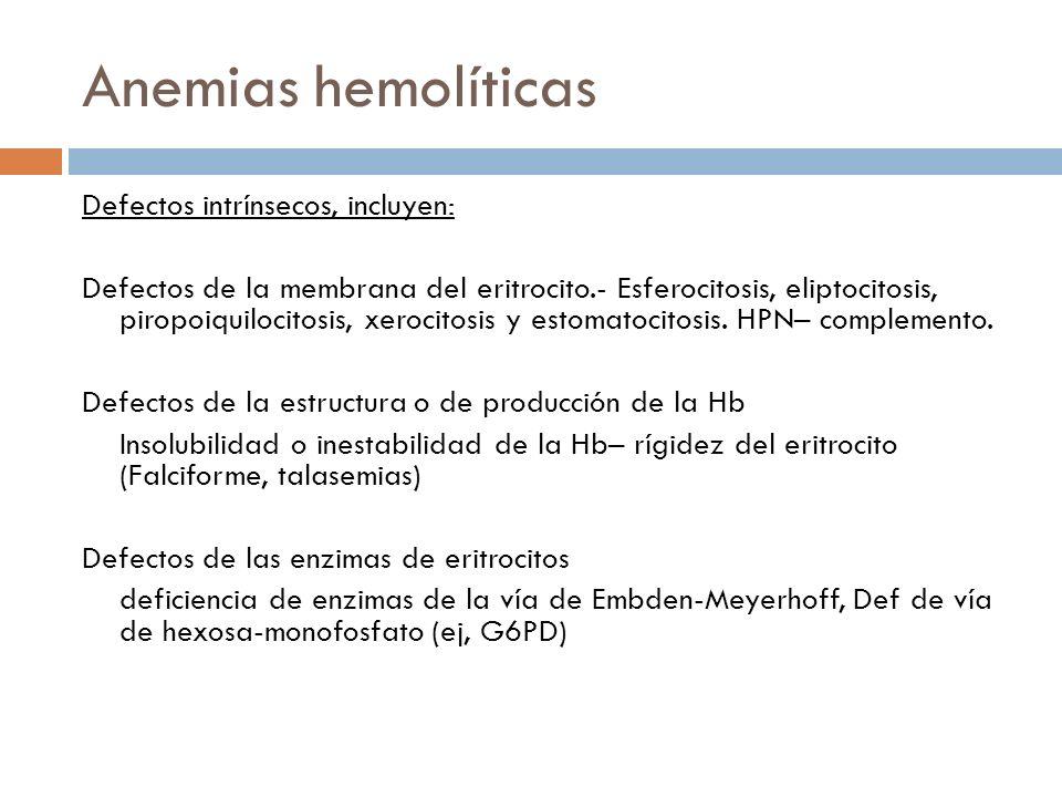 Anemias hemolíticas Defectos intrínsecos, incluyen: Defectos de la membrana del eritrocito.- Esferocitosis, eliptocitosis, piropoiquilocitosis, xeroci