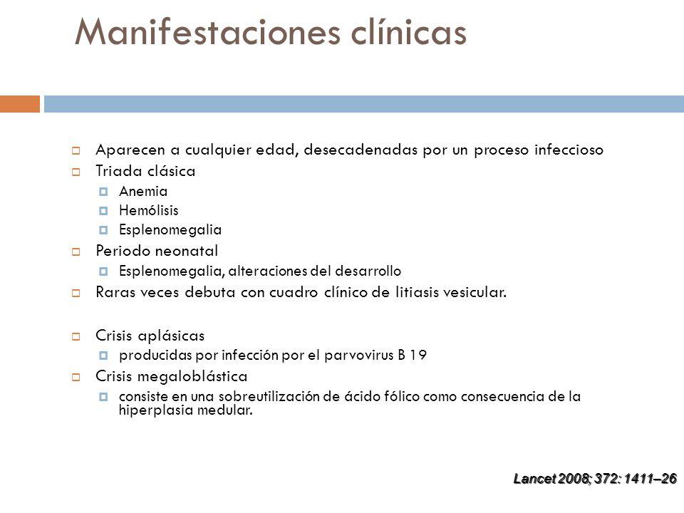 Manifestaciones clínicas Aparecen a cualquier edad, desecadenadas por un proceso infeccioso Triada clásica Anemia Hemólisis Esplenomegalia Periodo neo