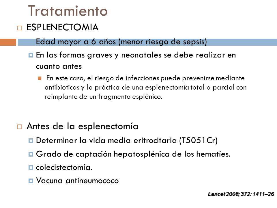 Tratamiento ESPLENECTOMIA Edad mayor a 6 años (menor riesgo de sepsis) En las formas graves y neonatales se debe realizar en cuanto antes En este caso