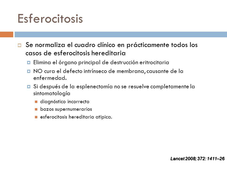 Esferocitosis Se normaliza el cuadro clínico en prácticamente todos los casos de esferocitosis hereditaria Elimina el órgano principal de destrucción