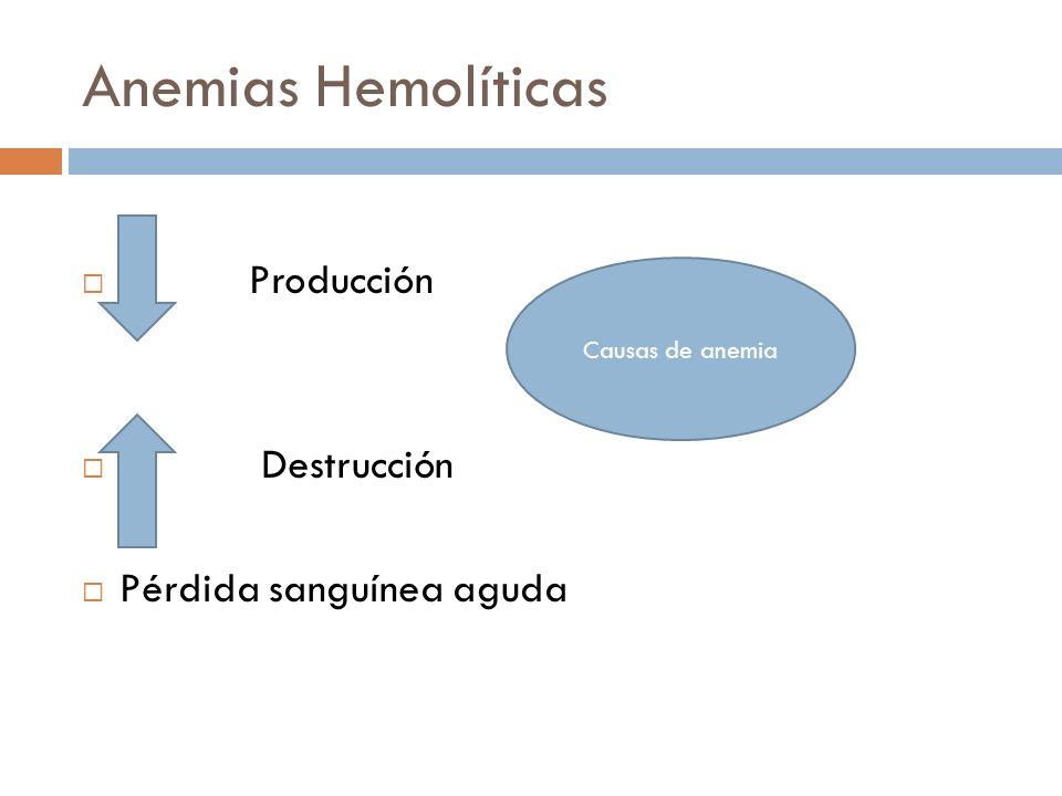 Anemias Hemolíticas Producción Destrucción Pérdida sanguínea aguda Causas de anemia