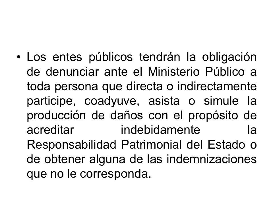 Los entes públicos tendrán la obligación de denunciar ante el Ministerio Público a toda persona que directa o indirectamente participe, coadyuve, asis
