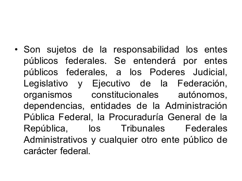 Son sujetos de la responsabilidad los entes públicos federales. Se entenderá por entes públicos federales, a los Poderes Judicial, Legislativo y Ejecu