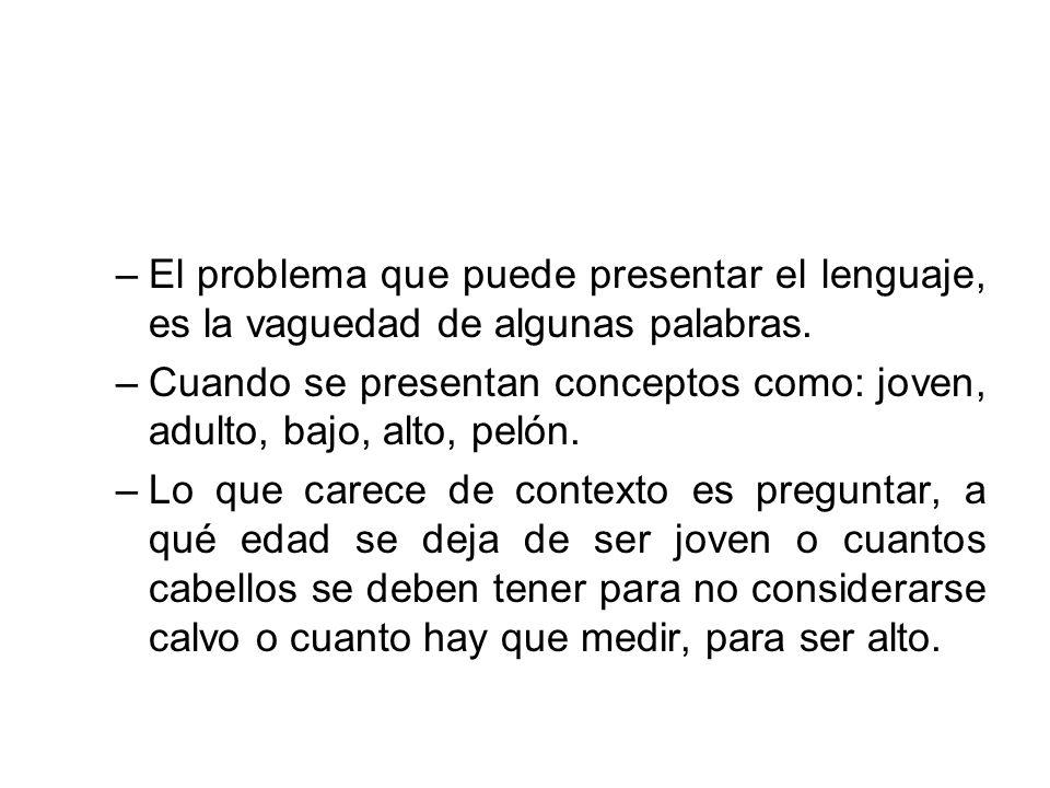 –El problema que puede presentar el lenguaje, es la vaguedad de algunas palabras. –Cuando se presentan conceptos como: joven, adulto, bajo, alto, peló
