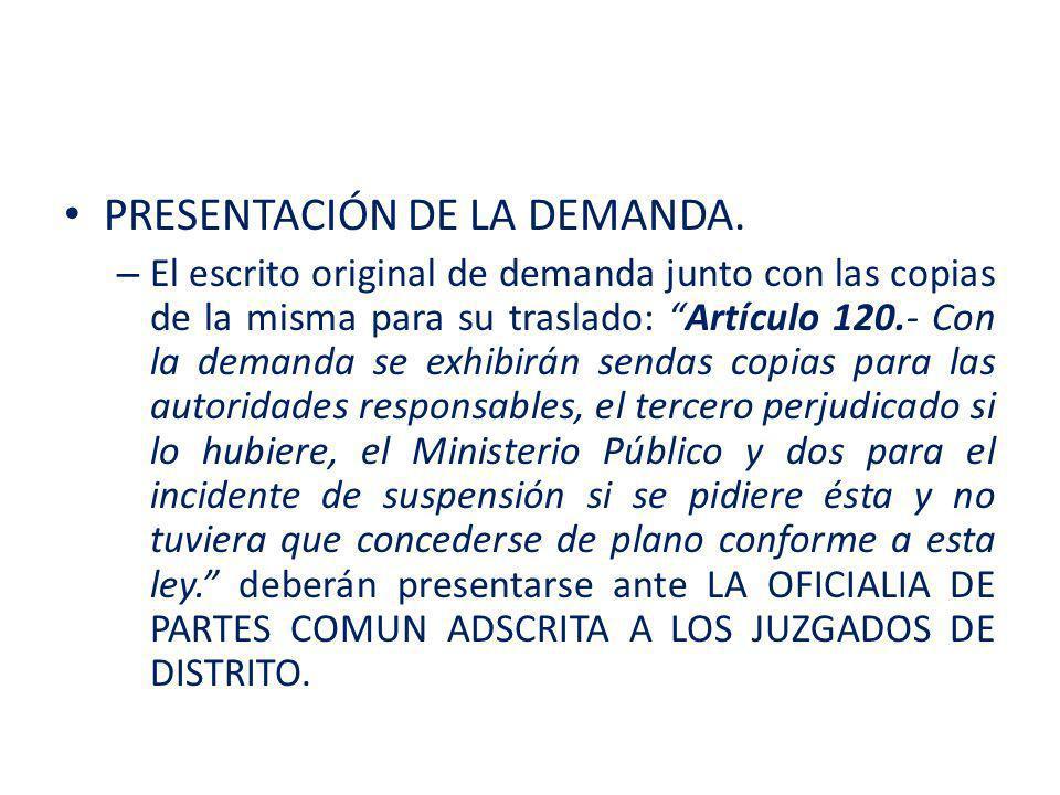 – La Oficialía distribuye de manera aleatoria la demanda de amparo, al Juzgado de Distrito que le toque conocer por turno.