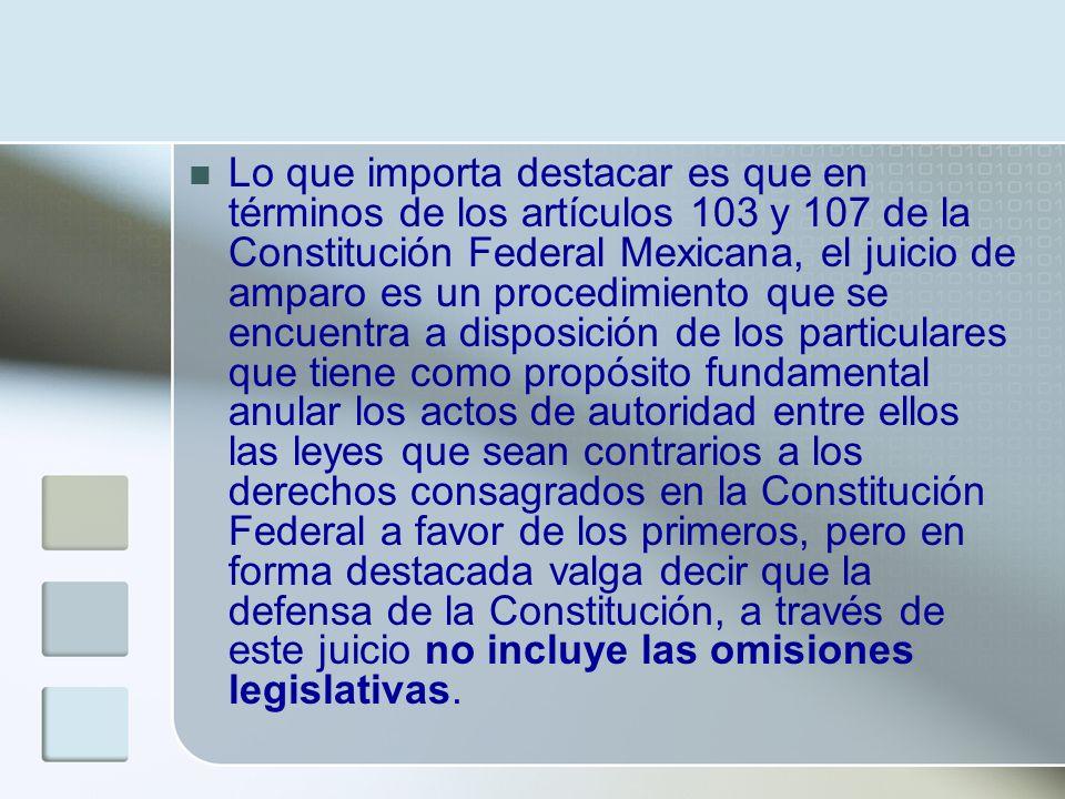 Lo que importa destacar es que en términos de los artículos 103 y 107 de la Constitución Federal Mexicana, el juicio de amparo es un procedimiento que