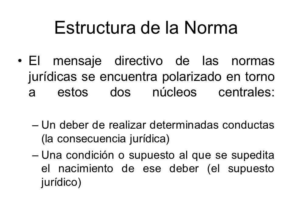 Estructura de la Norma El mensaje directivo de las normas jurídicas se encuentra polarizado en torno a estos dos núcleos centrales: –Un deber de reali