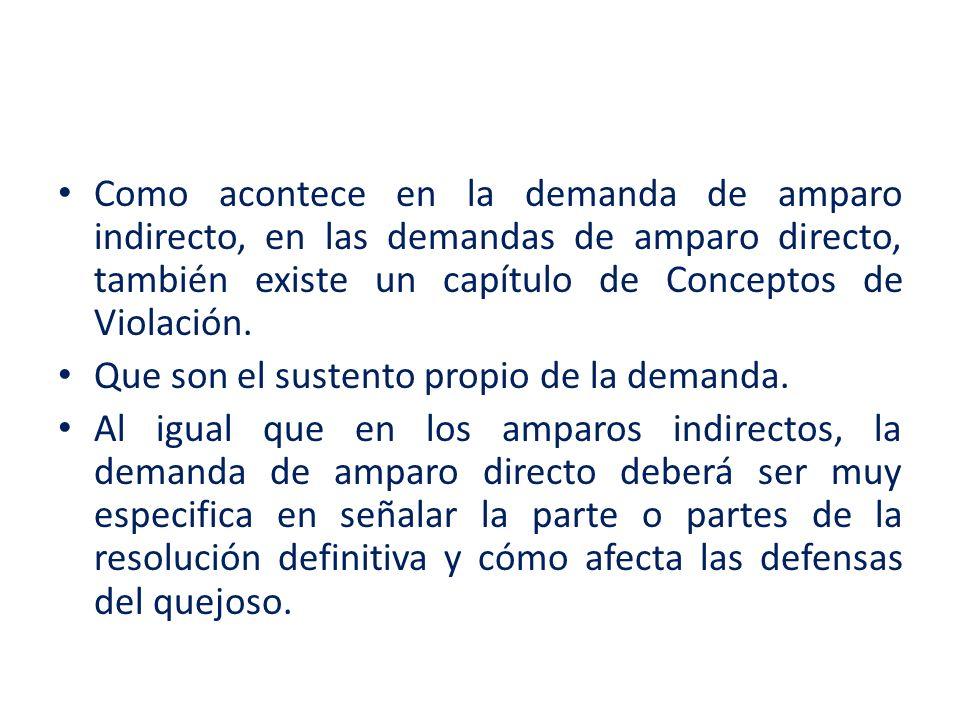 Como acontece en la demanda de amparo indirecto, en las demandas de amparo directo, también existe un capítulo de Conceptos de Violación. Que son el s