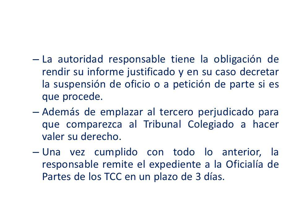 – La autoridad responsable tiene la obligación de rendir su informe justificado y en su caso decretar la suspensión de oficio o a petición de parte si