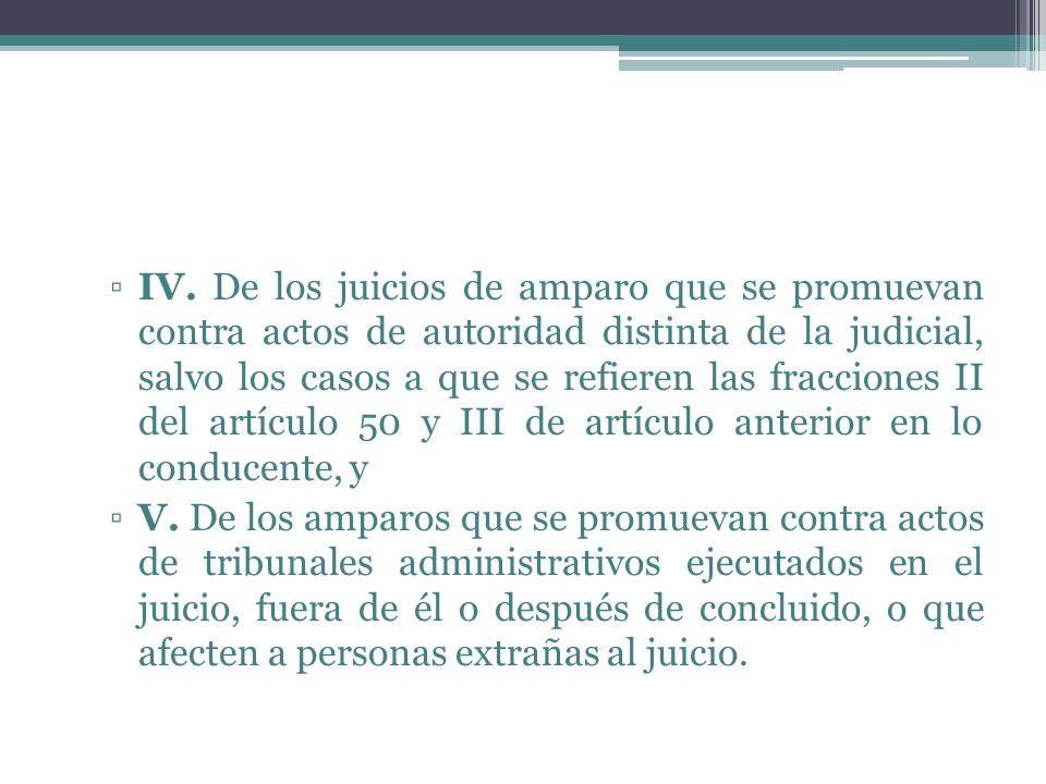 IV. De los juicios de amparo que se promuevan contra actos de autoridad distinta de la judicial, salvo los casos a que se refieren las fracciones II d