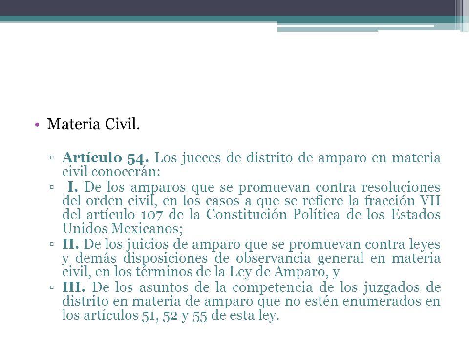 Materia Civil. Artículo 54. Los jueces de distrito de amparo en materia civil conocerán: I. De los amparos que se promuevan contra resoluciones del or