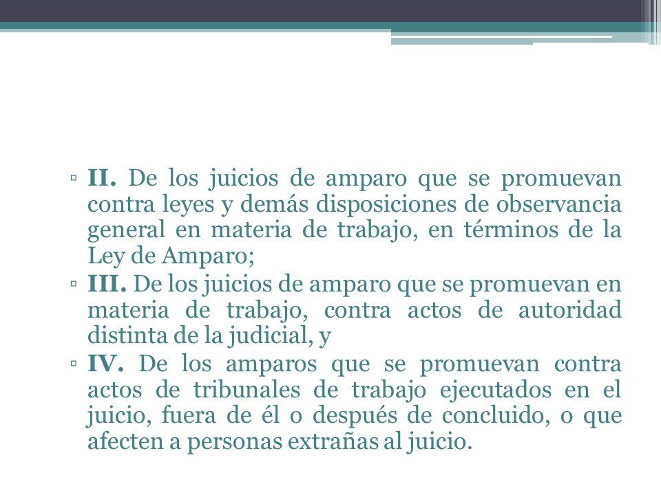 II. De los juicios de amparo que se promuevan contra leyes y demás disposiciones de observancia general en materia de trabajo, en términos de la Ley d