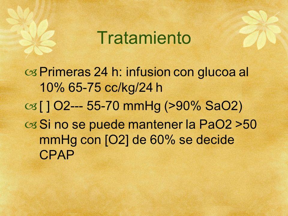 Tratamiento Primeras 24 h: infusion con glucoa al 10% 65-75 cc/kg/24 h [ ] O2--- 55-70 mmHg (>90% SaO2) Si no se puede mantener la PaO2 >50 mmHg con [