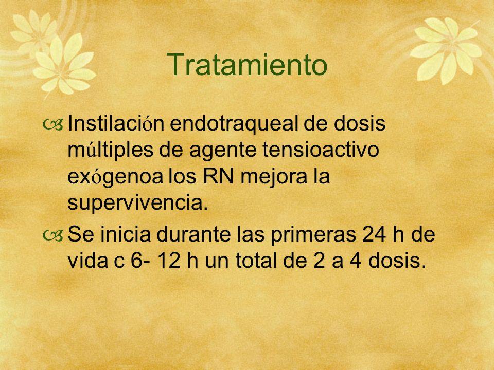 Tratamiento Instilaci ó n endotraqueal de dosis m ú ltiples de agente tensioactivo ex ó genoa los RN mejora la supervivencia. Se inicia durante las pr