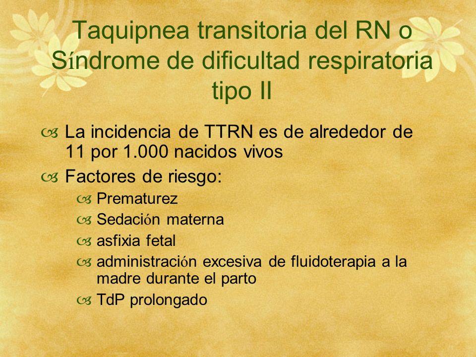 Taquipnea transitoria del RN o S í ndrome de dificultad respiratoria tipo II La incidencia de TTRN es de alrededor de 11 por 1.000 nacidos vivos Facto