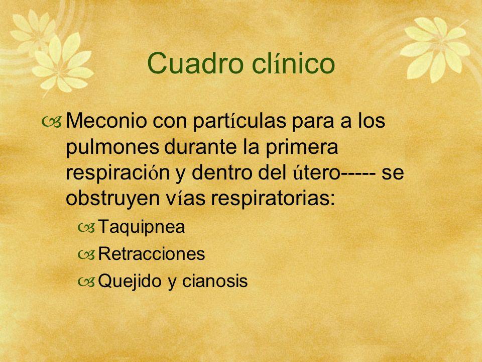 Cuadro cl í nico Meconio con part í culas para a los pulmones durante la primera respiraci ó n y dentro del ú tero----- se obstruyen v í as respirator
