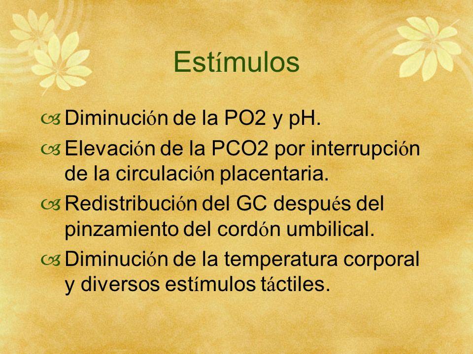 Est í mulos Diminuci ó n de la PO2 y pH. Elevaci ó n de la PCO2 por interrupci ó n de la circulaci ó n placentaria. Redistribuci ó n del GC despu é s