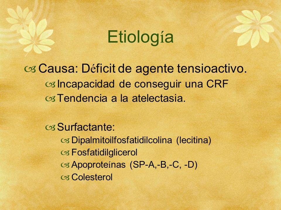 Etiolog í a Causa: D é ficit de agente tensioactivo. Incapacidad de conseguir una CRF Tendencia a la atelectasia. Surfactante: Dipalmitoilfosfatidilco