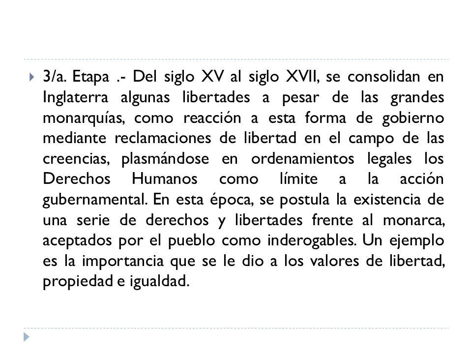 3/a. Etapa.- Del siglo XV al siglo XVII, se consolidan en Inglaterra algunas libertades a pesar de las grandes monarquías, como reacción a esta forma
