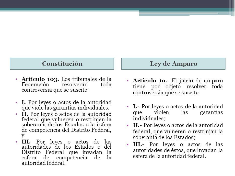 ConstituciónLey de Amparo Artículo 103. Los tribunales de la Federación resolverán toda controversia que se suscite: I. Por leyes o actos de la autori