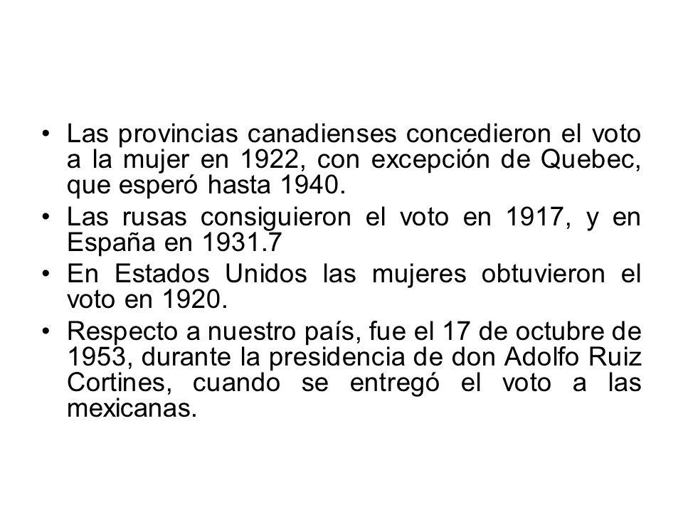 Las provincias canadienses concedieron el voto a la mujer en 1922, con excepción de Quebec, que esperó hasta 1940. Las rusas consiguieron el voto en 1
