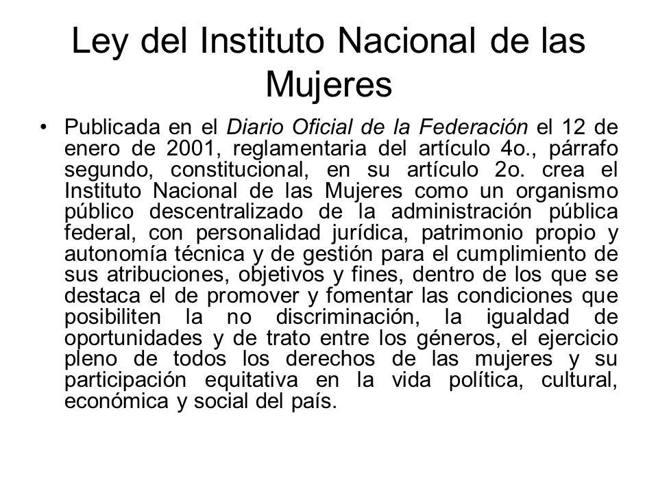 Ley del Instituto Nacional de las Mujeres Publicada en el Diario Oficial de la Federación el 12 de enero de 2001, reglamentaria del artículo 4o., párr