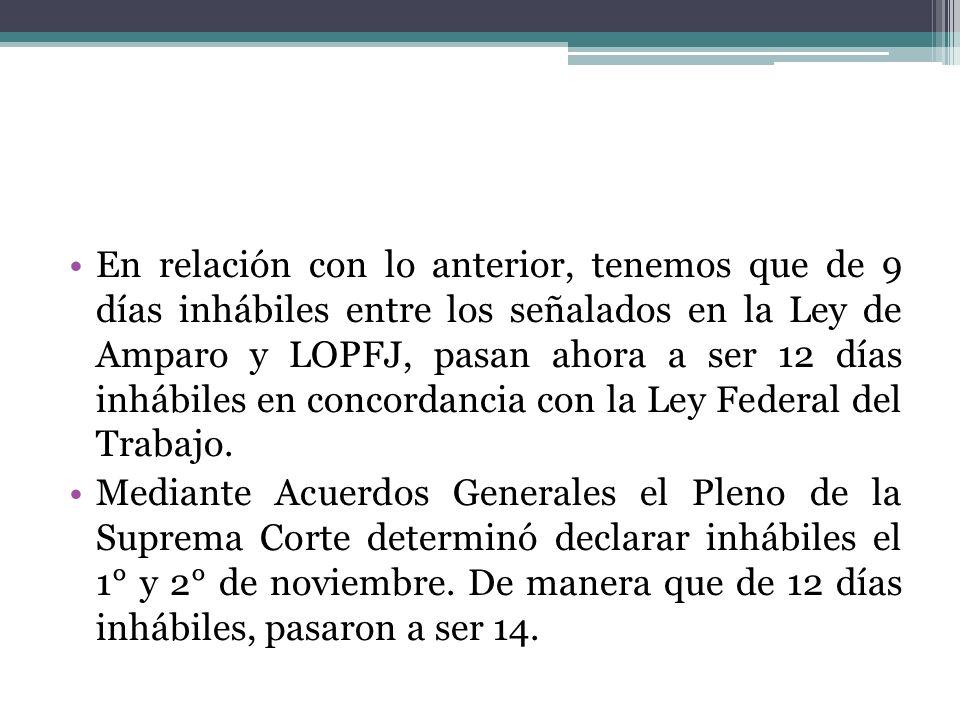 En relación con lo anterior, tenemos que de 9 días inhábiles entre los señalados en la Ley de Amparo y LOPFJ, pasan ahora a ser 12 días inhábiles en c