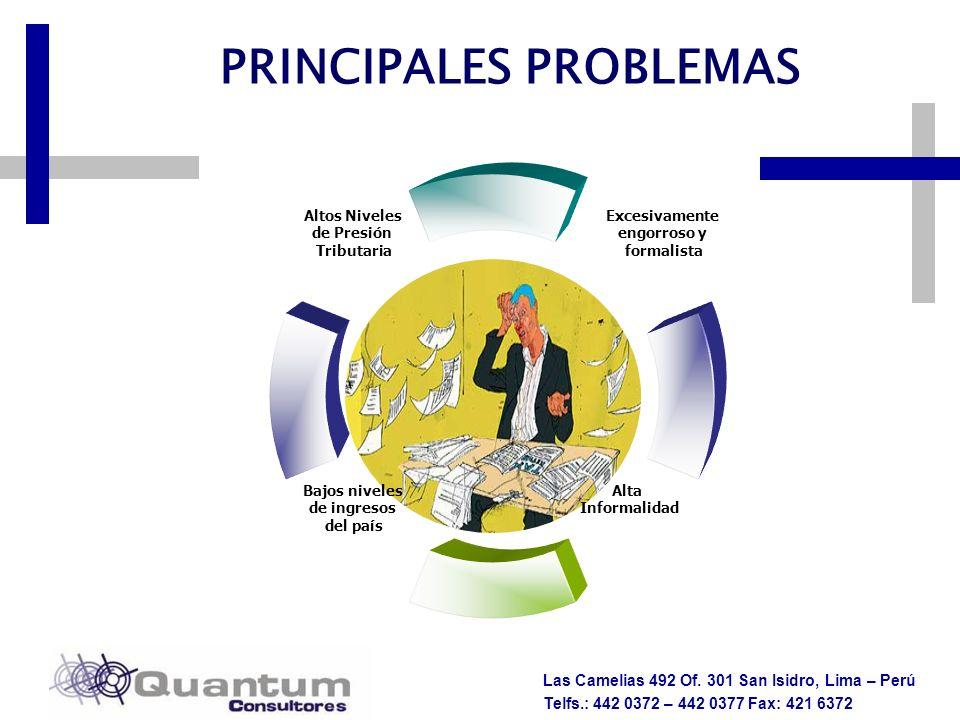 Las Camelias 492 Of. 301 San Isidro, Lima – Perú Telfs.: 442 0372 – 442 0377 Fax: 421 6372 PRINCIPALES PROBLEMAS