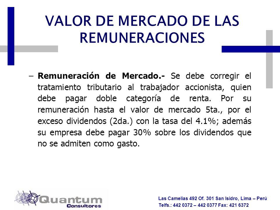 Las Camelias 492 Of. 301 San Isidro, Lima – Perú Telfs.: 442 0372 – 442 0377 Fax: 421 6372 –Remuneración de Mercado.- Se debe corregir el tratamiento