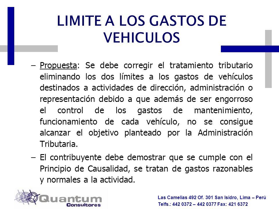 Las Camelias 492 Of. 301 San Isidro, Lima – Perú Telfs.: 442 0372 – 442 0377 Fax: 421 6372 –Propuesta: Se debe corregir el tratamiento tributario elim