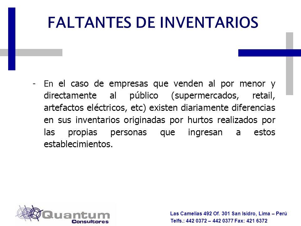 Las Camelias 492 Of. 301 San Isidro, Lima – Perú Telfs.: 442 0372 – 442 0377 Fax: 421 6372 -En el caso de empresas que venden al por menor y directame