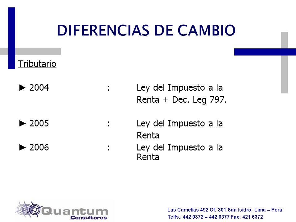 Las Camelias 492 Of. 301 San Isidro, Lima – Perú Telfs.: 442 0372 – 442 0377 Fax: 421 6372 DIFERENCIAS DE CAMBIO Tributario 2004:Ley del Impuesto a la