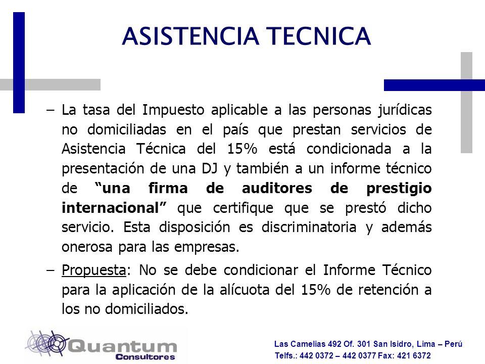 Las Camelias 492 Of. 301 San Isidro, Lima – Perú Telfs.: 442 0372 – 442 0377 Fax: 421 6372 –La tasa del Impuesto aplicable a las personas jurídicas no