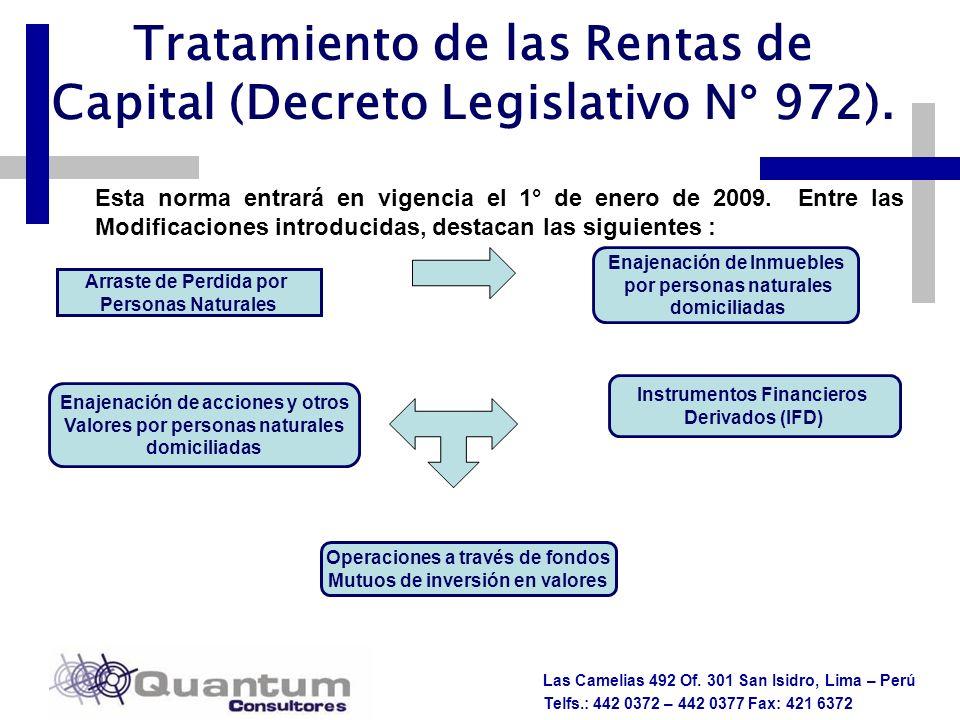 Las Camelias 492 Of. 301 San Isidro, Lima – Perú Telfs.: 442 0372 – 442 0377 Fax: 421 6372 Tratamiento de las Rentas de Capital (Decreto Legislativo N