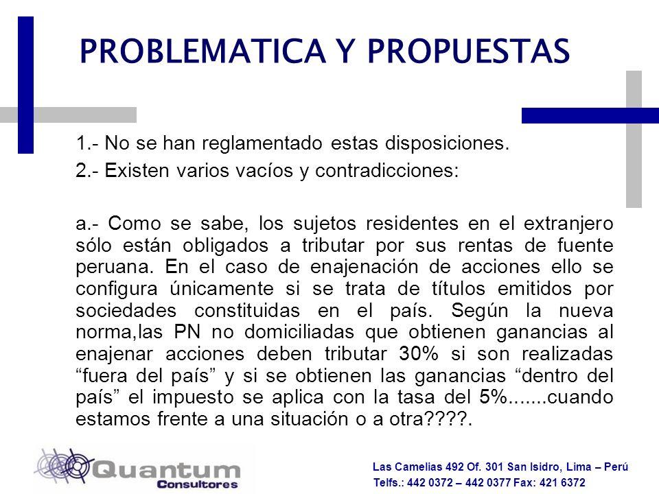 Las Camelias 492 Of. 301 San Isidro, Lima – Perú Telfs.: 442 0372 – 442 0377 Fax: 421 6372 PROBLEMATICA Y PROPUESTAS 1.- No se han reglamentado estas