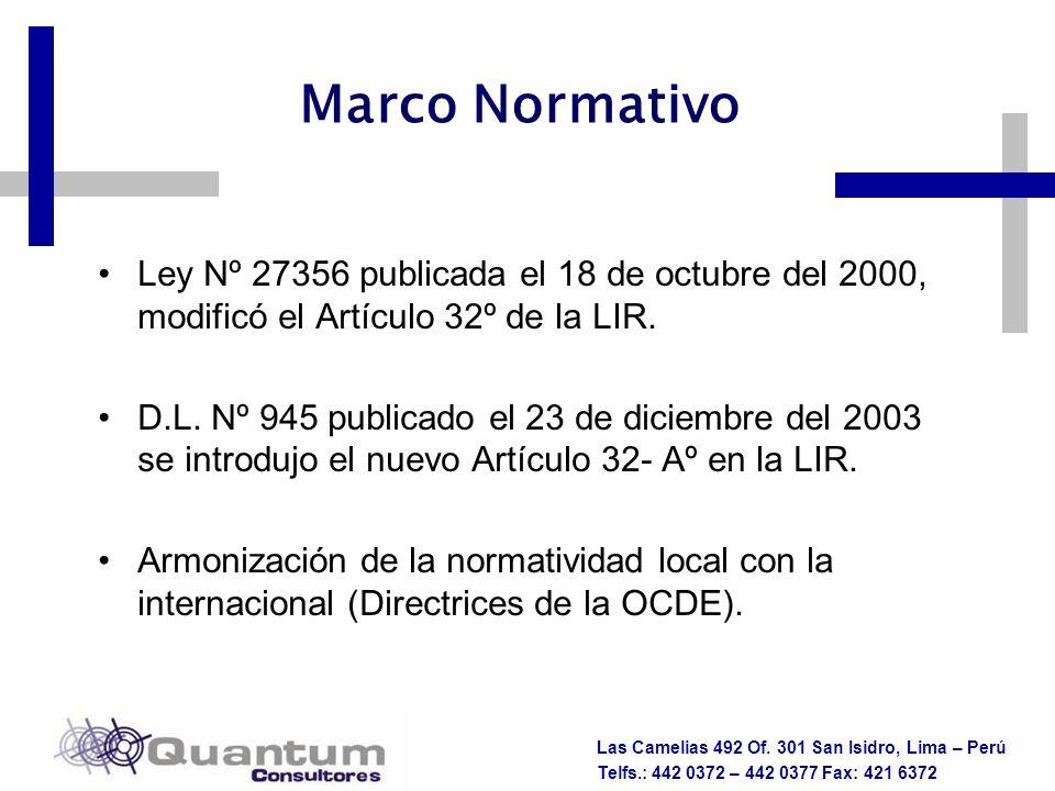 Las Camelias 492 Of. 301 San Isidro, Lima – Perú Telfs.: 442 0372 – 442 0377 Fax: 421 6372 Marco Normativo Ley Nº 27356 publicada el 18 de octubre del