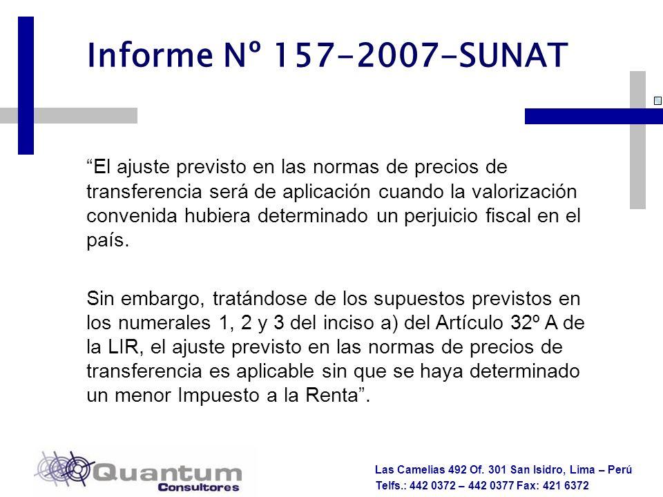 Las Camelias 492 Of. 301 San Isidro, Lima – Perú Telfs.: 442 0372 – 442 0377 Fax: 421 6372 El ajuste previsto en las normas de precios de transferenci