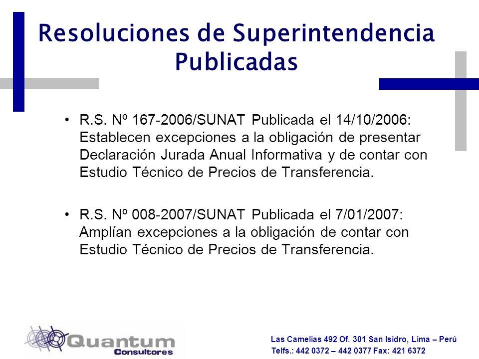 Las Camelias 492 Of. 301 San Isidro, Lima – Perú Telfs.: 442 0372 – 442 0377 Fax: 421 6372 Resoluciones de Superintendencia Publicadas R.S. Nº 167-200