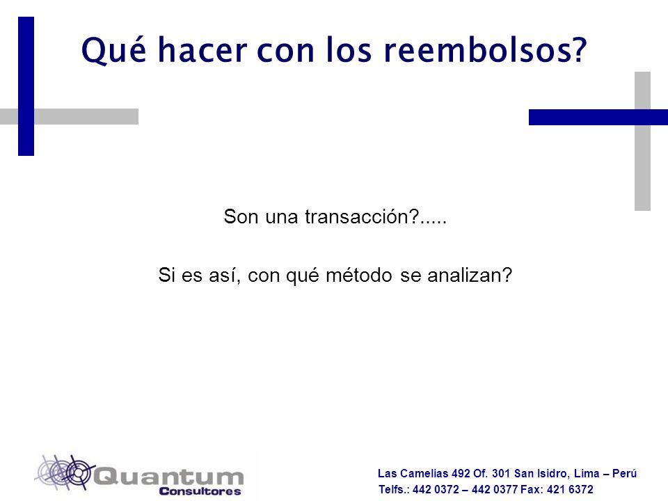 Las Camelias 492 Of. 301 San Isidro, Lima – Perú Telfs.: 442 0372 – 442 0377 Fax: 421 6372 Qué hacer con los reembolsos? Son una transacción?..... Si