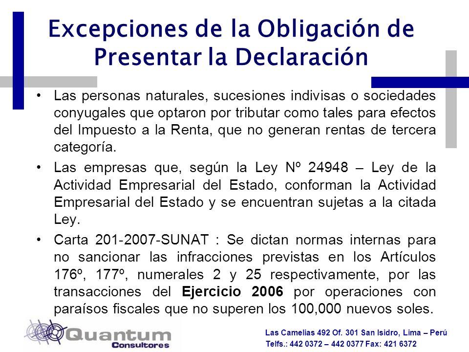 Las Camelias 492 Of. 301 San Isidro, Lima – Perú Telfs.: 442 0372 – 442 0377 Fax: 421 6372 Excepciones de la Obligación de Presentar la Declaración La