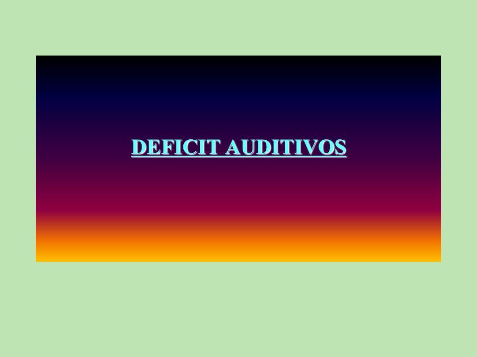 Los déficits de la audición se clasifican sobre la base del grado de pérdida auditiva ; ésta se calcula según la intensidad a la que hay que amplificar un sonido para que pueda ser percibido (Hipoacusia)