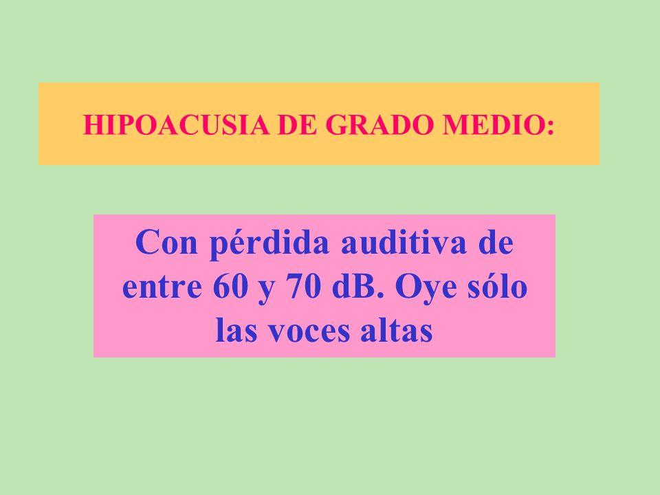 HIPOACUSIA LEVE Pérdida auditiva de entre 40 y 60 dB. Percibe la voz, pero se le escapan algunos elementos fonéticos