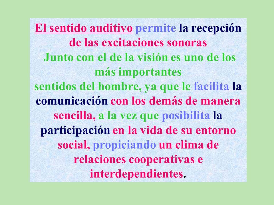 El sentido auditivo permite la recepción de las excitaciones sonoras Junto con el de la visión es uno de los más importantes sentidos del hombre, ya que le facilita la comunicación con los demás de manera sencilla, a la vez que posibilita la participación en la vida de su entorno social, propiciando un clima de relaciones cooperativas e interdependientes.
