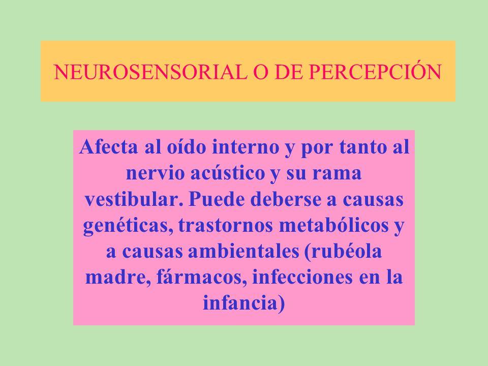NEUROSENSORIAL O DE PERCEPCIÓN Afecta al oído interno y por tanto al nervio acústico y su rama vestibular.