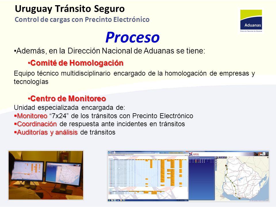 7 Uruguay Tránsito Seguro Control de cargas con Precinto Electrónico Proceso Además, en la Dirección Nacional de Aduanas se tiene: Comité de HomologaciónComité de Homologación Equipo técnico multidisciplinario encargado de la homologación de empresas y tecnologías Centro de MonitoreoCentro de Monitoreo Unidad especializada encargada de: Monitoreo Monitoreo 7x24 de los tránsitos con Precinto Electrónico Coordinación Coordinación de respuesta ante incidentes en tránsitos Auditorías y análisis Auditorías y análisis de tránsitos