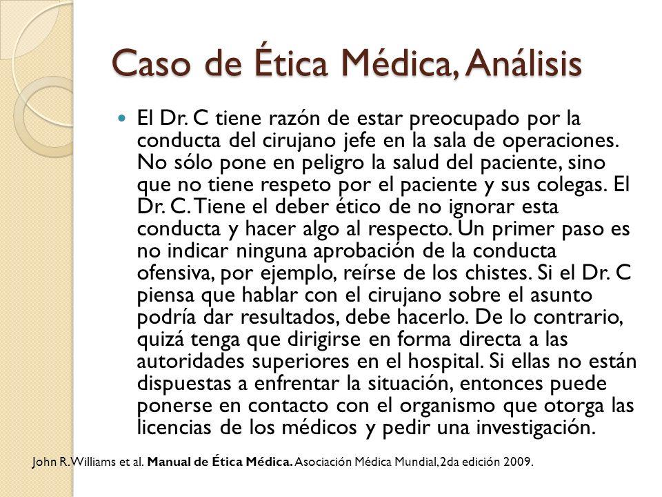 Caso de Ética Médica, Análisis El Dr. C tiene razón de estar preocupado por la conducta del cirujano jefe en la sala de operaciones. No sólo pone en p