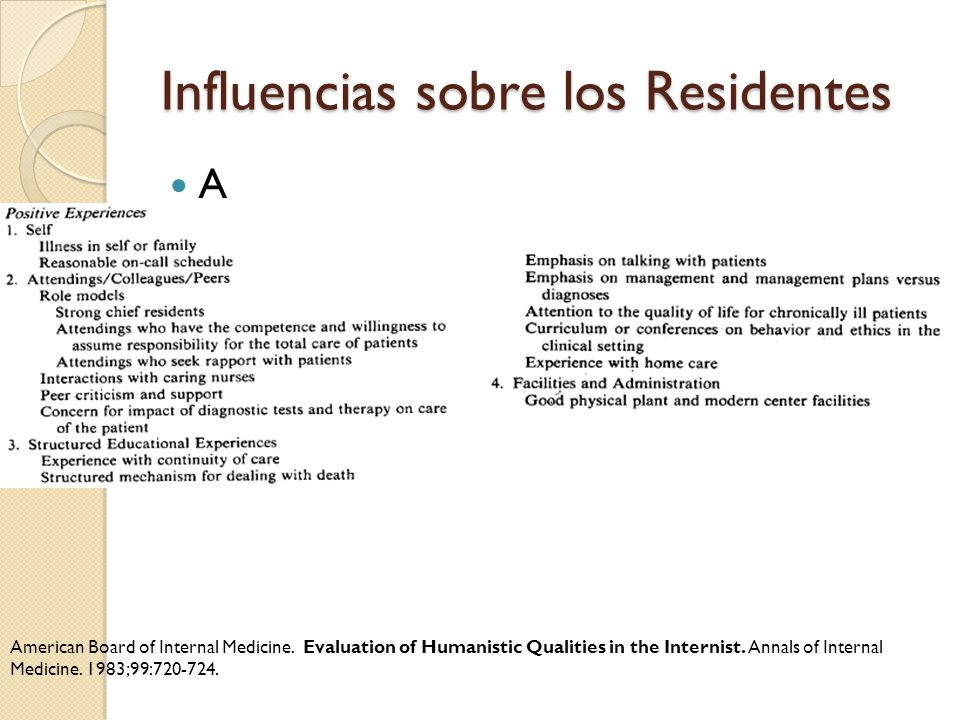 Influencias sobre los Residentes A American Board of Internal Medicine. Evaluation of Humanistic Qualities in the Internist. Annals of Internal Medici