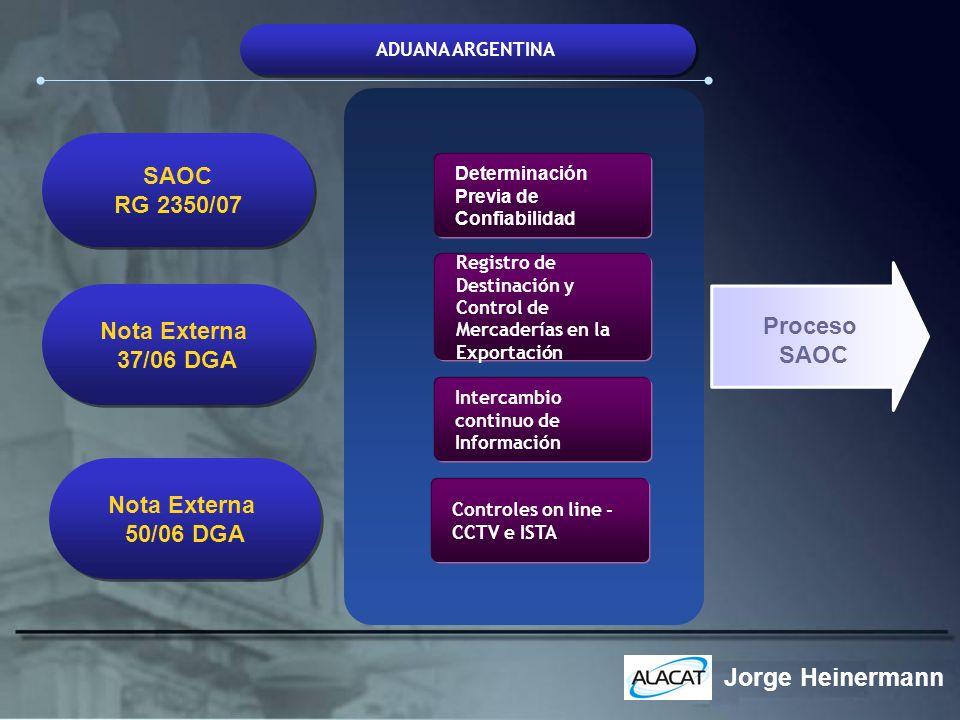 ADUANA ARGENTINA Determinación Previa de Confiabilidad Controles on line - CCTV e ISTA Intercambio continuo de Información Registro de Destinación y C
