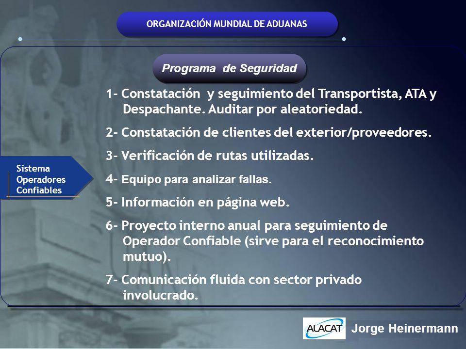 ORGANIZACIÓN MUNDIAL DE ADUANAS 1- Constatación y seguimiento del Transportista, ATA y Despachante. Auditar por aleatoriedad. 2- Constatación de clien